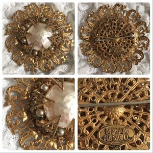 Vintage Miriam Haskell Gold & Pearl Signed Brooch